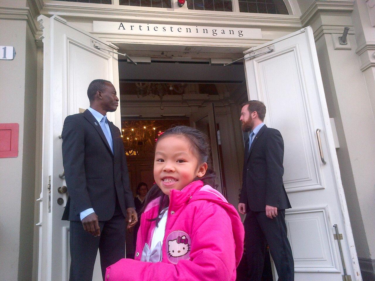 Alyssa at the artist entrance before entering