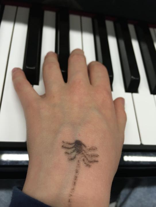 Spin kruipt uit de mouw van Maxim die piano speelt..