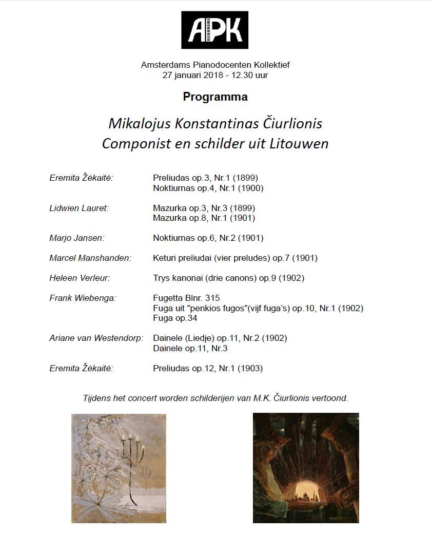 Programma concert 27-1-2018